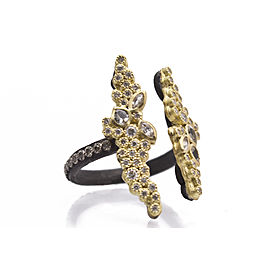 Blackened Sterling Silver/18k Yellow Gold Open Cluster Stack Ring