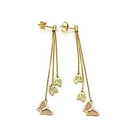 Enamel Butterfly & Leaf Long Triple Chain Dangle Earrings in 14k Yellow Gold