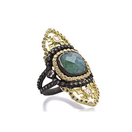 Armenta 18k Yellow Gold RingBlackened Sterling Silver/18k Yellow Gold Large Saddle Scroll Ring With Malachite/rainbow Moonstone Doublet