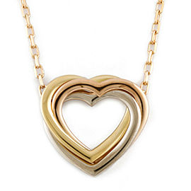 CARTIER 18K Pink Gold 18K yellow Gold Open heart Heart Trinity 3 color Necklace CHAT-740