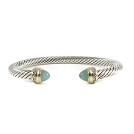 David Yurman Sterling Silver and 18K Yellow Gold 0.20ct. Diamond and Opal Cable Classic Bracelet