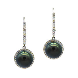 18K White Gold Black Cultured Pearl and Diamond Earrings