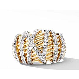 David Yurman Helena Dome Ring in 18K Yellow Gold with Diamonds