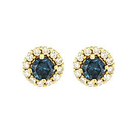14K Yellow Gold with 0.88ct. Blue and White Diamond Stud Earrings