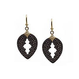 Blackened Sterling Silver/18k Yellow Gold Pavé Pear Cut-out Drop Earrings
