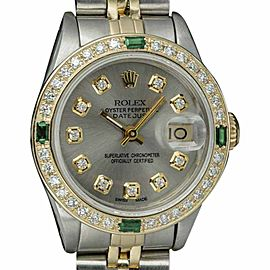 Rolex Datejust 6917 18K Yellow Gold and Stainless Steel with Grey Diamond Dial Vintage 26mm Womens Watch