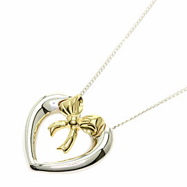 TIFFANY & Co. Silver 18K Yellow Gold Heart ribbon Necklace