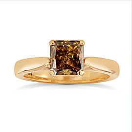 Leibish 18K Rose Gold Fancy Deep Brown Orange Radiant Diamond Solitaire Ring Size 6