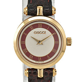 GUCCI 2000L Bordeaux/Silver Dial GP/Leather Quartz Ladies Watch
