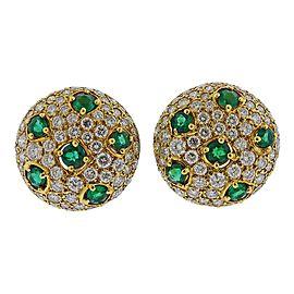 Gemlok Emerald Diamond Gold Earrings
