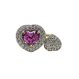 Pamela Huizenga 18K Yellow Gold with 2.11ct. Pink Sapphire and 1.25ct. Diamond Ring Size 6
