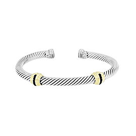 David Yurman Cable Classics 925 Sterling Silver & 14K Yellow Gold Sapphire Bracelet