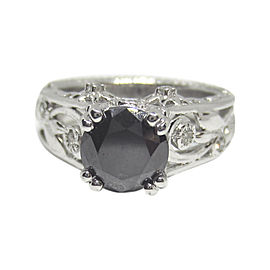 14K White Gold with 2.15ct. Black Diamond Engagement Ring Size 7