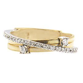 Marco Bicego 18K Yellow Gold and 18K White Gold Diamond Wedding Band Ring Size 7