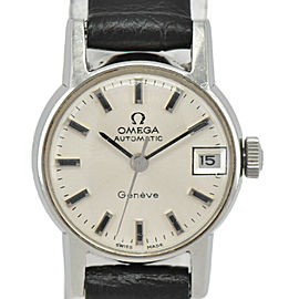 OMEGA Geneva Silver Dial SS/Leather Cal.681 Automatic Ladies Watch