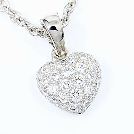 Cartier 18K White Gold Diamond Pave Heart Pendant Necklace CHAT-101