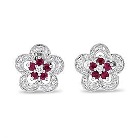 14k White Gold 0.63 CT Natural Diamond & Ruby Flower Earrings