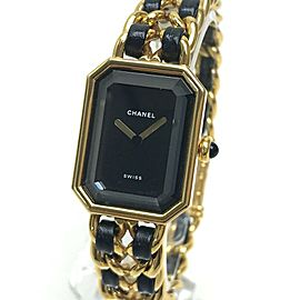 CHANEL Gold Plated x Leather Premiere Chain Bracelet Wrist watch