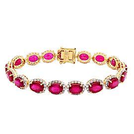 14K Yellow Gold Ruby Diamond Bracelet