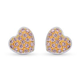 Leibish 18K White and Rose Gold Fancy Pink Diamond Pave Heart Earrings