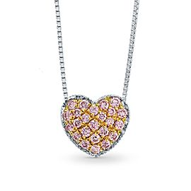 Leibish 18K White and Rose Gold Fancy Pink Pave Diamond Heart Pendant Necklace