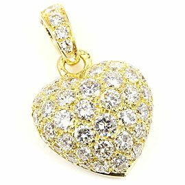 Cartier 18K Yellow Gold Pave Diamond Heart Necklace Pendant top