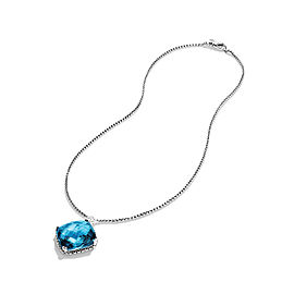 David Yurman Sterling Silver Topaz & 0.14ct Diamond Cushion On Point Necklace
