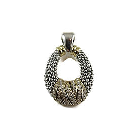 Lagos Caviar Sterling Silver 18K Yellow Gold 0.62tcw Embrace Beaded Diamond Doorknocker Pendant