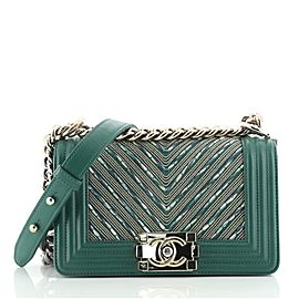 Chanel Boy Flap Bag Bead Embellished Chevron Calfskin Small