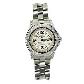 Breitling Superocean Stainless Steel & Diamond Bezel Mens Watch