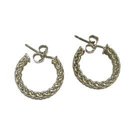 Tiffany & Co. Sterling Silver Mesh Hoops Earrings