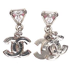 Chanel Sterling Silver Mirror CC Crystal Dangle Piercing Earrings