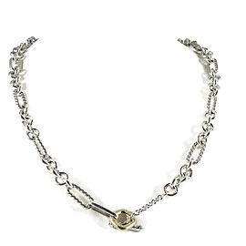 David Yurman 18K Yellow Gold, Sterling Silver Figaro Chain Toggle Necklace