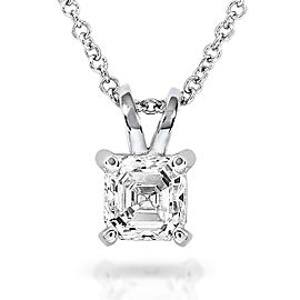 Diamond Solitaire Pendant 1/2 Carat Asscher in 14K White Gold