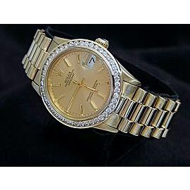 Mid Size Rolex 18K Yellow Gold Datejust President Champagne Diamond 68278