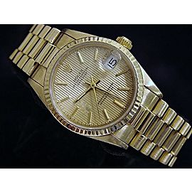 Mid Size Rolex 18K Yellow Gold Datejust President Tapestry 68278