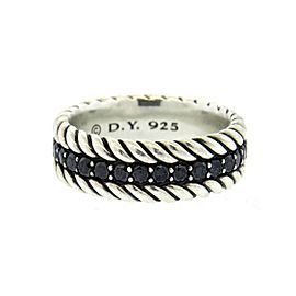 David Yurman Sterling Silver with Black Diamonds Band Ring Size 8.5