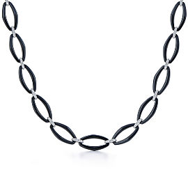 Kwiat 18k White Gold and Black Ceramic Necklace From The Madison Avenue Collection