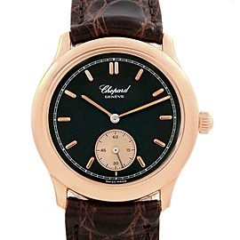 Chopard Classique Rose Gold Black Dial Brown Strap Mens Watch 16-1168