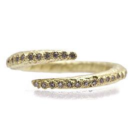 18k Yellow Gold Criss-cross Ring With White Diamonds