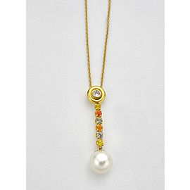 18K Yellow and White Gold Diamond & Multi-color Sapphire Pendant Necklace