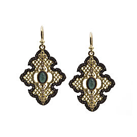 Blackened Sterling Silver/18k Yellow Gold Large Scroll Mesh Earring With Malachite/rainbow Moonstone Doublets