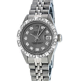 Rolex Datejust Stainless Steel & 18K White Gold Slate Gray Diamond Dial 26mm Womens Watch