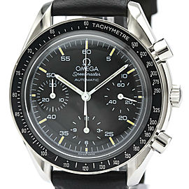 Polished OMEGA Stainless steel Leather Speedmaster Automatic Watch