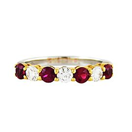 Tiffany & Co. Platinum and 18K Yellow Gold with 0.40ct. Diamond and Ruby Ring Size 6.5