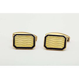 Deakin & Francis 18K Yellow Gold with Yellow and Blue Guilloche Enamel Cufflinks