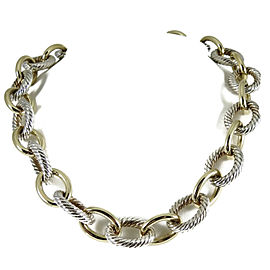 David Yurman Sterling Silver 18K Yellow Gold Oval Link Necklace
