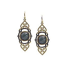 Blackened Sterling Silver/18k Yellow Gold Large Saddle Scroll Earrings With Malachite/rainbow Moonstone Doublets