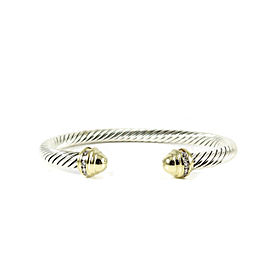 David Yurman Sterling Silver 18K Yellow Gold .20tcw 5mm Gold Dome Diamond Princess Bracelet