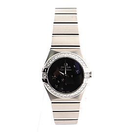 Omega Constellation Orbis Star Quartz Watch Stainless Steel and White Gold with Diamond Bezel 24